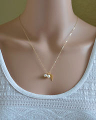 Gold Twins Pregnancy Loss Necklace with Pearls - product images 3 of 5
