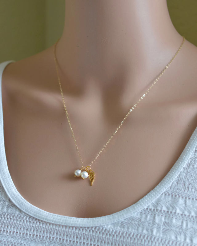 Gold Twins Pregnancy Loss Necklace with Pearls - product image