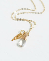 Gold Pregnancy Loss Necklace with April Birthstone and Angel Wing Charm - product images 2 of 5