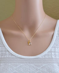 Gold Pregnancy Loss Necklace with April Birthstone and Angel Wing Charm - product images 4 of 5