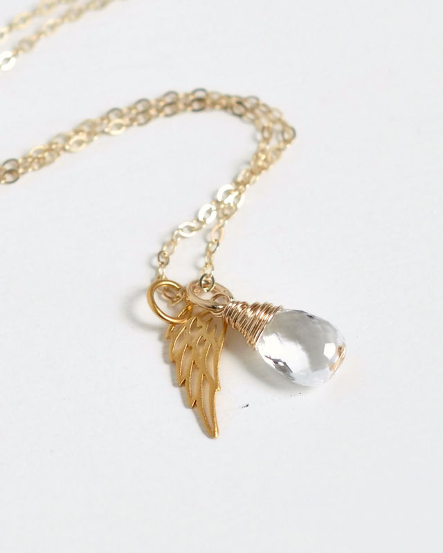 Gold Pregnancy Loss Necklace with April Birthstone and Angel Wing Charm - product image