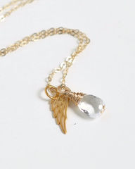 Gold Pregnancy Loss Necklace with April Birthstone and Angel Wing Charm - product images 3 of 5