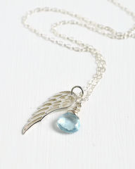 Silver Angel Wing Miscarriage Memorial Necklace with December Birthstone - product images 4 of 7