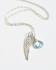 Silver Angel Wing Miscarriage Memorial Necklace with December Birthstone - product images 5 of 7
