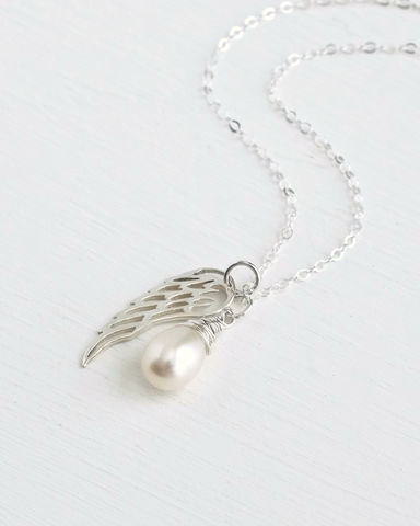 Silver,Angel,Wing,Miscarriage,Memorial,Necklace,with,June,Birthstone,miscarriage necklace forget-me-not, miscarriage memorial jewelry, miscarriage necklace with birthstone