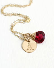 Personalized Gold Initial Necklace with Birthstone for July - product images 3 of 6