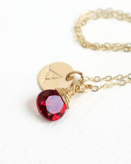 Personalized Gold Initial Necklace with Birthstone for July - product images 2 of 6
