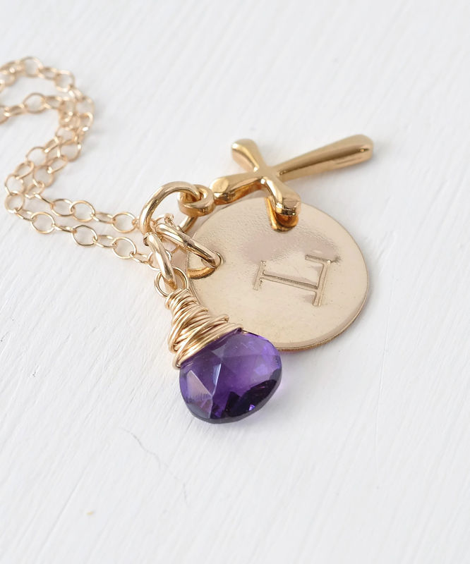 Personalized Confirmation Gift Necklace with Cross Initial and Birthstone Gold Fill - product image