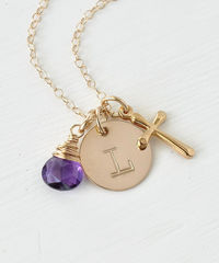 Personalized Confirmation Gift Necklace with Cross Initial and Birthstone Gold Fill - product images 4 of 6