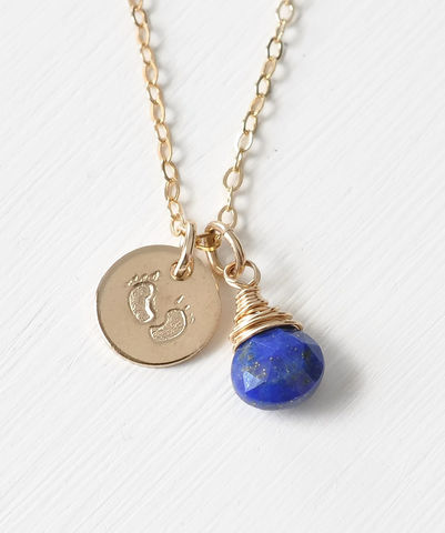 Gold,Fill,Baby,Footprints,Necklace,with,September,Birthstone,baby footprint necklace birthstone