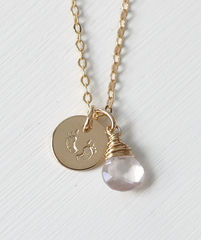 Gold Fill Baby Footprints Necklace with October Birthstone - product images 1 of 6