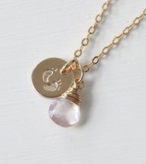 Gold Fill Baby Footprints Necklace with October Birthstone - product images 2 of 6