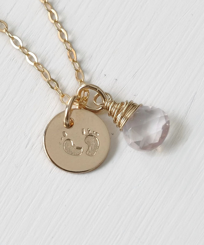 Gold Fill Baby Footprints Necklace with October Birthstone - product image