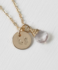 Gold Fill Baby Footprints Necklace with October Birthstone - product images 3 of 6