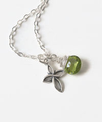 Small Sterling Silver Cross Necklace with Birthstone for August - product images  of