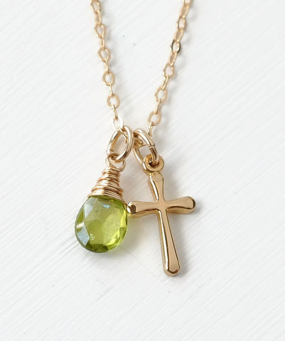 Small,Gold,Filled,Cross,Necklace,with,Birthstone,for,August,gold cross necklace with birthstone