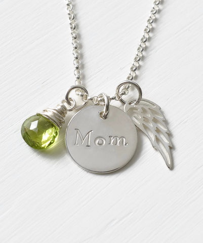 Memorial,Necklace,for,Loss,of,Mom,in,Sterling,Silver,memorial necklace for loss of mom, memorial jewelry for loss of mom