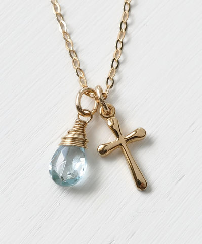 Small,Gold,Filled,Cross,Necklace,with,Birthstone,for,December,gold cross necklace with birthstone