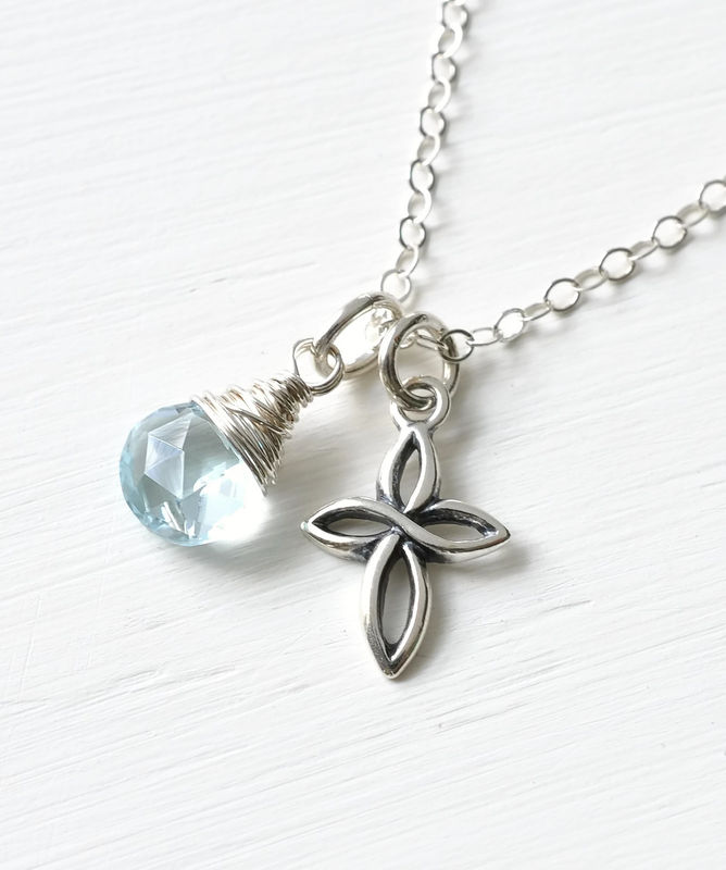 Small Sterling Silver Cross Necklace with Birthstone for December - product image