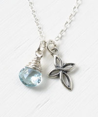 Small Sterling Silver Cross Necklace with Birthstone for December - product images 1 of 6
