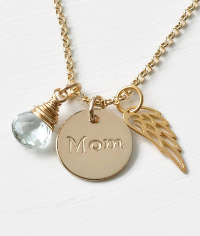Memorial,Necklace,for,Loss,of,Mom,in,Gold,Fill,memorial necklace for loss of mom, memorial jewelry for loss of mom