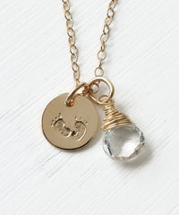 Gold Fill Baby Footprints Necklace with April Birthstone - product images 1 of 7