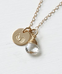 Gold Fill Baby Footprints Necklace with April Birthstone - product images 2 of 7