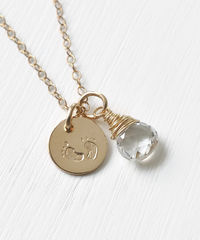 Gold Fill Baby Footprints Necklace with April Birthstone - product images 3 of 7