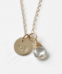 Gold Fill Baby Footprints Necklace with April Birthstone - product images  of