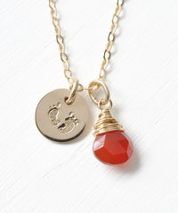 Gold Fill Baby Footprints Necklace with July Birthstone - product images  of