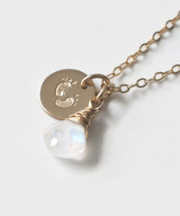 Gold Fill Baby Footprints Necklace with June Birthstone - product images 2 of 7