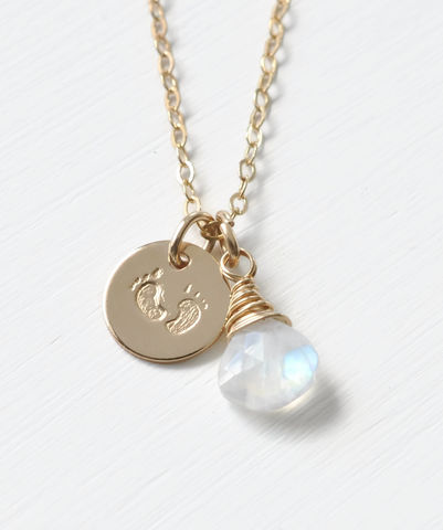 Gold,Fill,Baby,Footprints,Necklace,with,June,Birthstone,baby footprint necklace birthstone