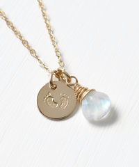 Gold Fill Baby Footprints Necklace with June Birthstone - product images 4 of 7