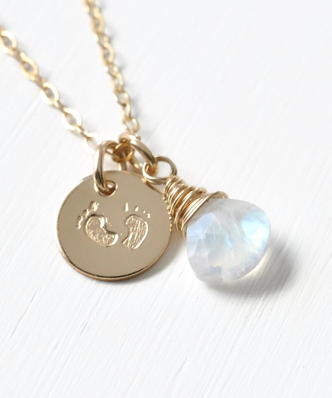 Gold Fill Baby Footprints Necklace with June Birthstone - product image