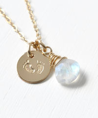 Gold Fill Baby Footprints Necklace with June Birthstone - product images 3 of 7