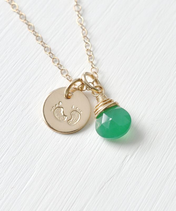 Gold Fill Baby Footprints Necklace with May Birthstone - product image