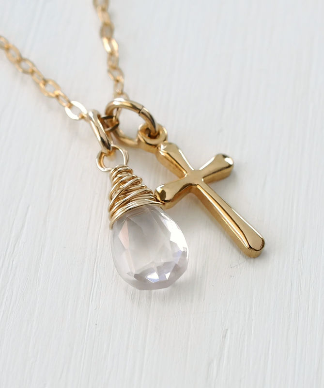 Small Gold Filled Cross Necklace with Birthstone for October - product image