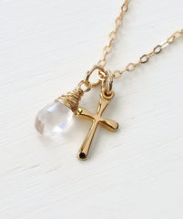 Small Gold Filled Cross Necklace with Birthstone for October - product images 3 of 5