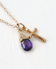 Small Gold Filled Cross Necklace with Birthstone for February - product images 3 of 5
