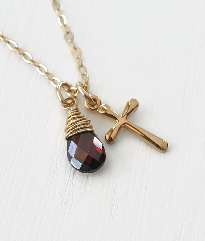 Small Gold Filled Cross Necklace with Birthstone for January - product image