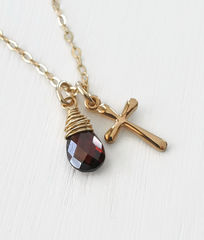 Small Gold Filled Cross Necklace with Birthstone for January - product images 3 of 5