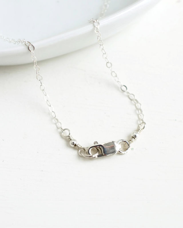 Small Sterling Silver Cross Necklace with Birthstone for October - product image
