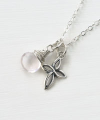 Small Sterling Silver Cross Necklace with Birthstone for October - product images 3 of 7