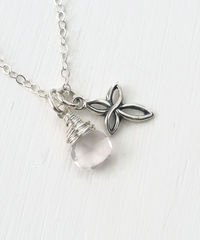 Small Sterling Silver Cross Necklace with Birthstone for October - product images 4 of 7