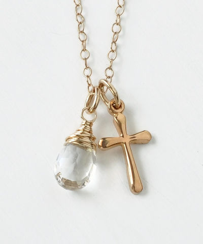 Small,Gold,Filled,Cross,Necklace,with,Birthstone,for,April,gold cross necklace with birthstone