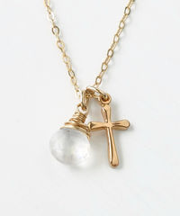 Small Gold Filled Cross Necklace with Birthstone for June - product images 1 of 7