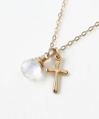 Small Gold Filled Cross Necklace with Birthstone for June - product images 3 of 7