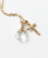 Small Gold Filled Cross Necklace with Birthstone for June - product images 4 of 7