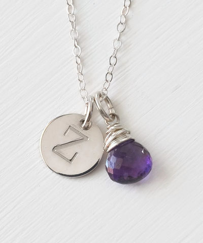 Sterling,Silver,February,Birthstone,Initial,Necklace,February birthstone initial necklace