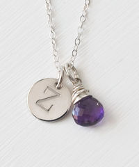 Sterling Silver February Birthstone Initial Necklace - product images 1 of 8